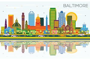 Baltimore Maryland City Skyline