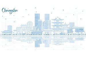 Outline Changsha China City Skyline