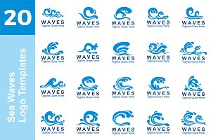 20 Logo Sea Waves Templates Bundle