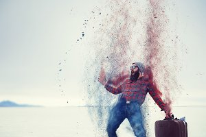 hipster turning into dust