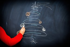 Hand Drawn Christmas Tree Chalk Blac