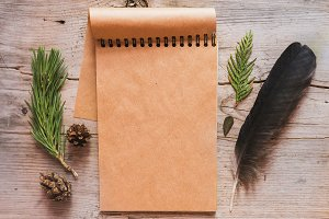 Rustic notebook mockup.