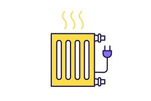 Electric radiator color icon