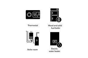 Heating glyph icons set