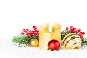 Christmas background. Red and golden