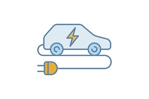 Electric car color icon