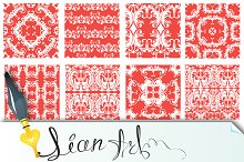 Squared backgrounds - red ornaments