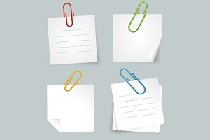 Vector Metal Paperclip and paper set