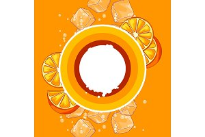 Background with oranges. Ice cubes