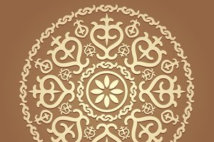 Islamic floral round pattern