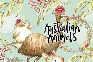 Australian Animals Clipart Watercolo
