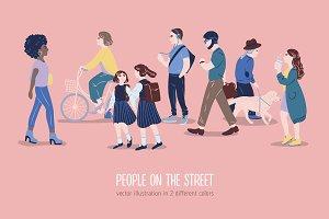 People on the street illustration