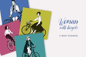 Women with bicycles set