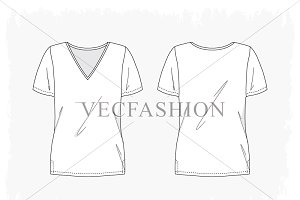 Woman Fitness V Neck Shirt Vector