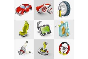 Car accessories icon set