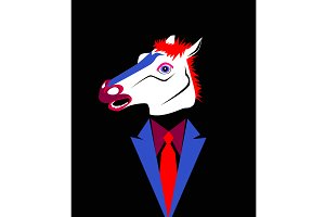 Abstract horse head with tuxedo