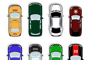 Police car, taxi, sports sedan icons