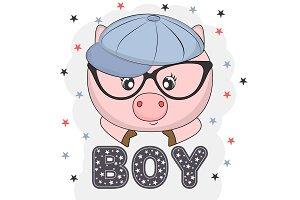 Lovely pig face in glasses