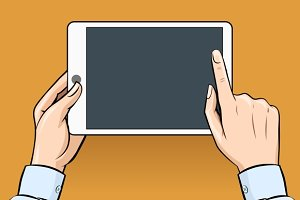 Retro hands holding tablet