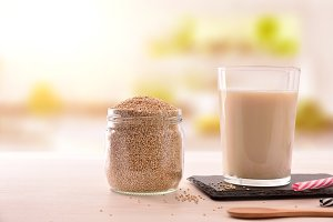 Quinoa drink and cereal grains jar