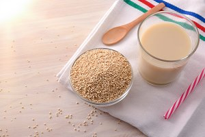 Quinoa drink and cereal grains top