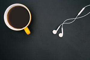 Coffee cup white music earphones