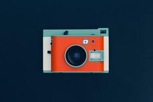 Retro orange film camera