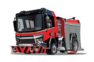 Vector cartoon firetruck isolated