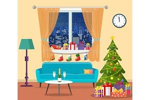 Christmas room interior.