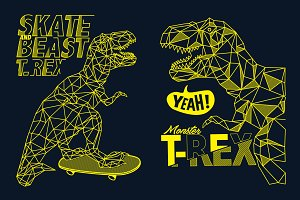 vector skater dinosaur design