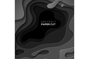 3D background with black paper cut