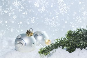 Christmas white scene with ornaments