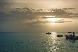 Sunset & Speed Boats at Caribbean