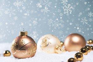 Gold Christmas balls scene