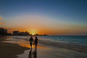 Couple Walking - Caribbean Sunset