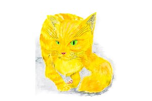 Red cat painted with watercolor on