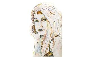 Portrait of a blonde woman drawn