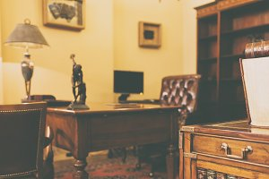 Cabinet with rich antique furniture