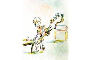 Umorik guitar writes a song and