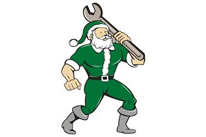 Santa Claus Mechanic Spanner Isolate