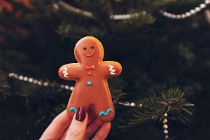 Gingerbread man in woman's hand