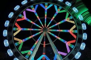 Ferris wheel in motion at night