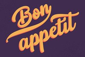 Bon Appetit typography, Tasty Vector
