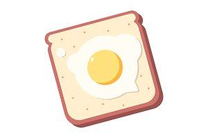Breakfast toast, tasty fried egg