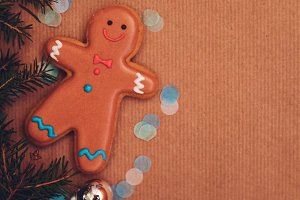 Gingerbread man and fir tree twigs