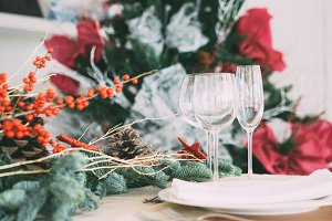Christmas table decoration detail