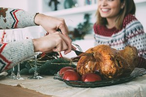 Roasted turkey at Christmas time