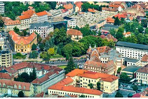 Aerial view of Brasov in Romania
