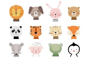 12 animals characters for baby cards