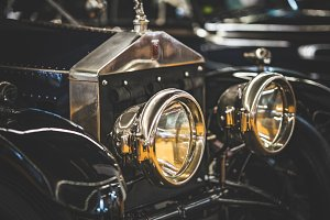 Headlamps of an old Rolls Royce car